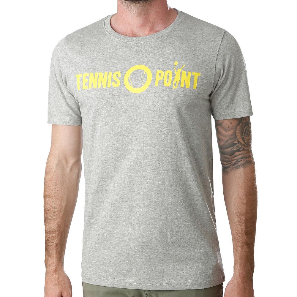 Tennis-Point Basic Camiseta De Manga Corta Hombres - Gris Claro, Blanco