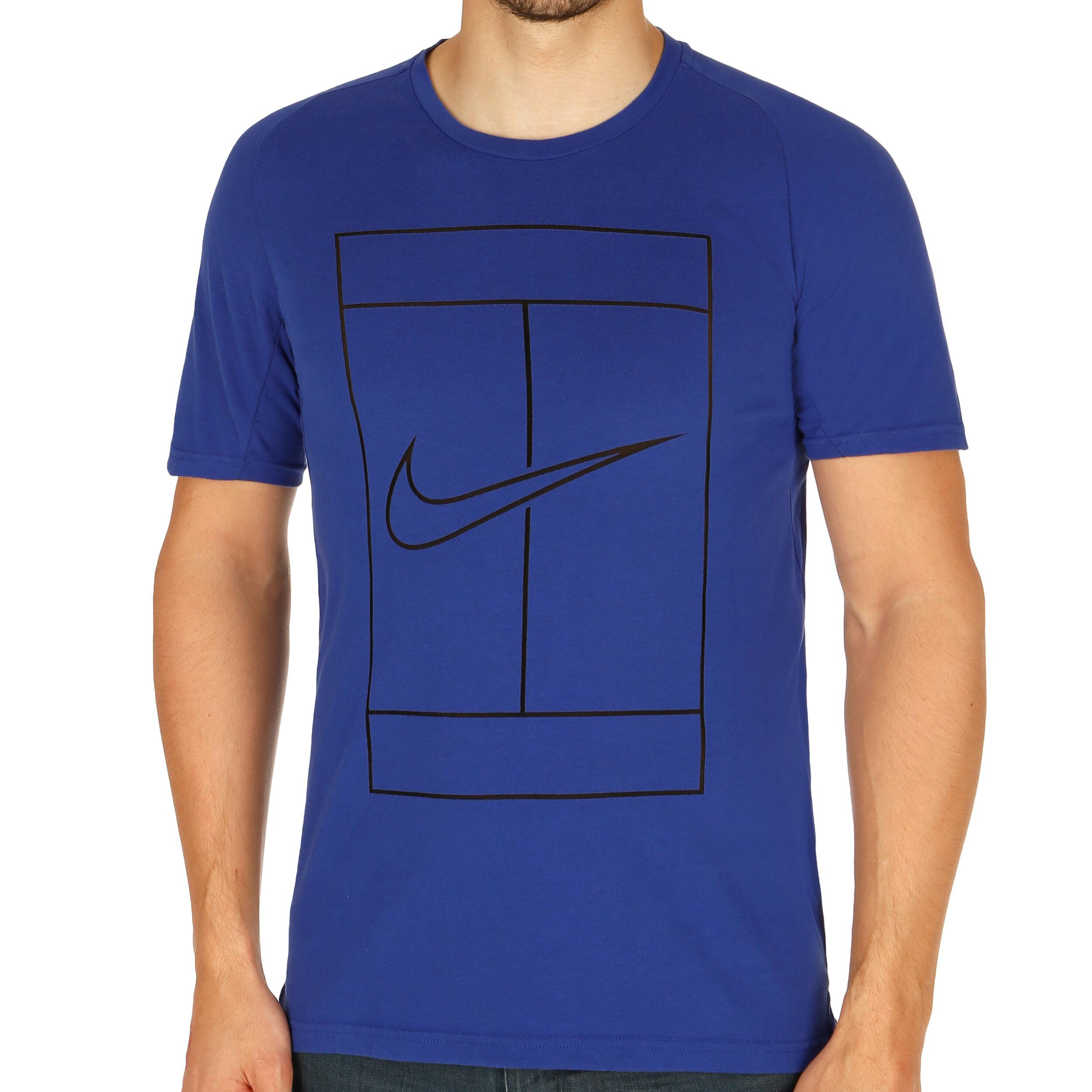 De Manga Hombres Camiseta Corta AzulNegro Nike Dry Court fyY76gmIvb