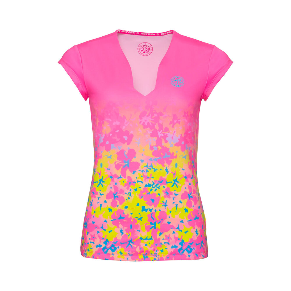 BIDI BADU Belle 2.0 Tech V-Neck Camiseta De Manga Corta Chicas - Rosa, Amarillo